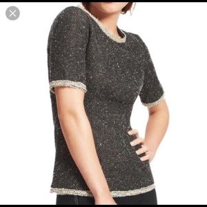 CAbi Coco Shell Terry Boucle Tweed Sweater